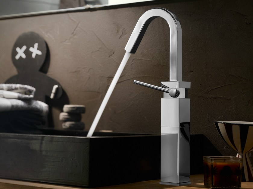 Chrome-plated single handle washbasin mixer CUBE   Chrome-plated washbasin mixer - Carlo Nobili Rubinetterie