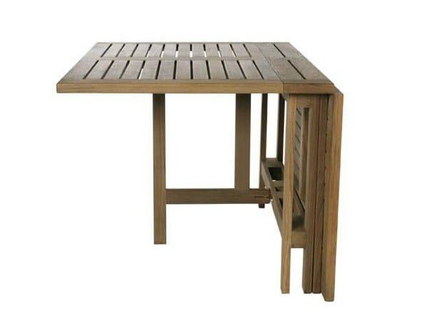 Folding rectangular teak garden table GATELEG by Tectona
