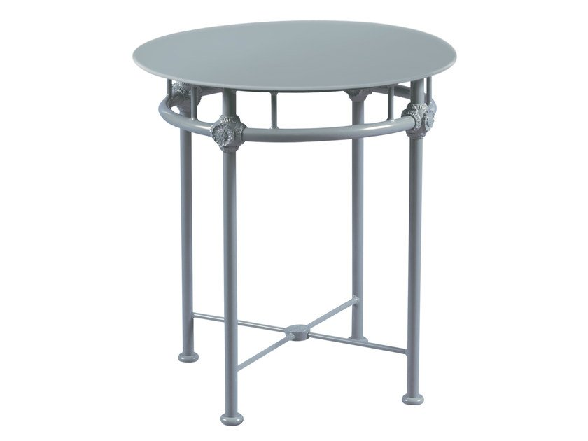 Low round aluminium garden side table 1800 | Round coffee table - Tectona