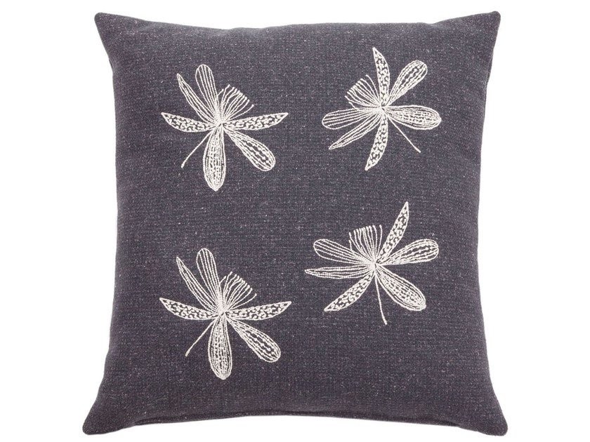Hand embroidered fabric cushion NATURE - True Design