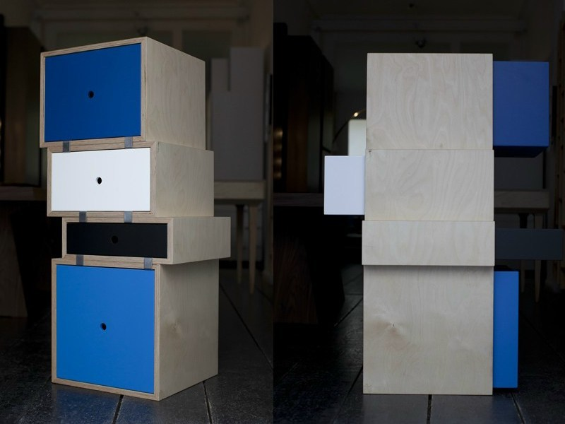 Modular wooden chest of drawers LES AGRAFÉS - MALHERBE EDITION