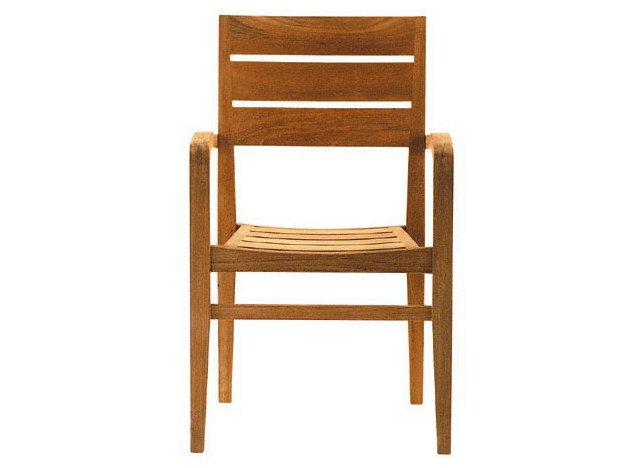 Stackable teak garden chair with armrests EXETER | Chair with armrests - Tectona