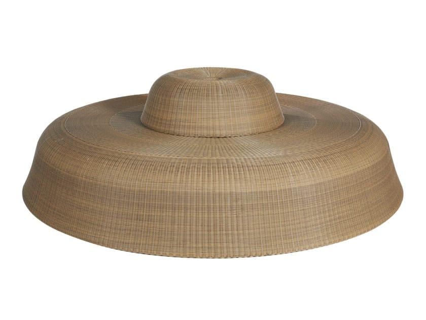 Round resin garden pouf PEBBLE | Garden pouf - Tectona