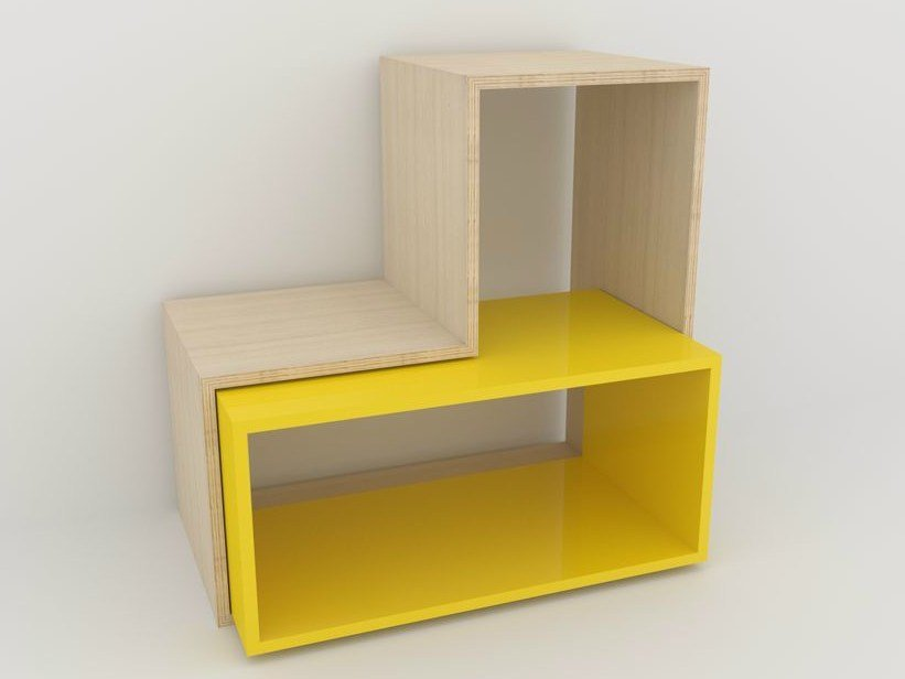 Sectional lacquered floating bookcase CAISSON RECTANGULAIRE by MALHERBE EDITION