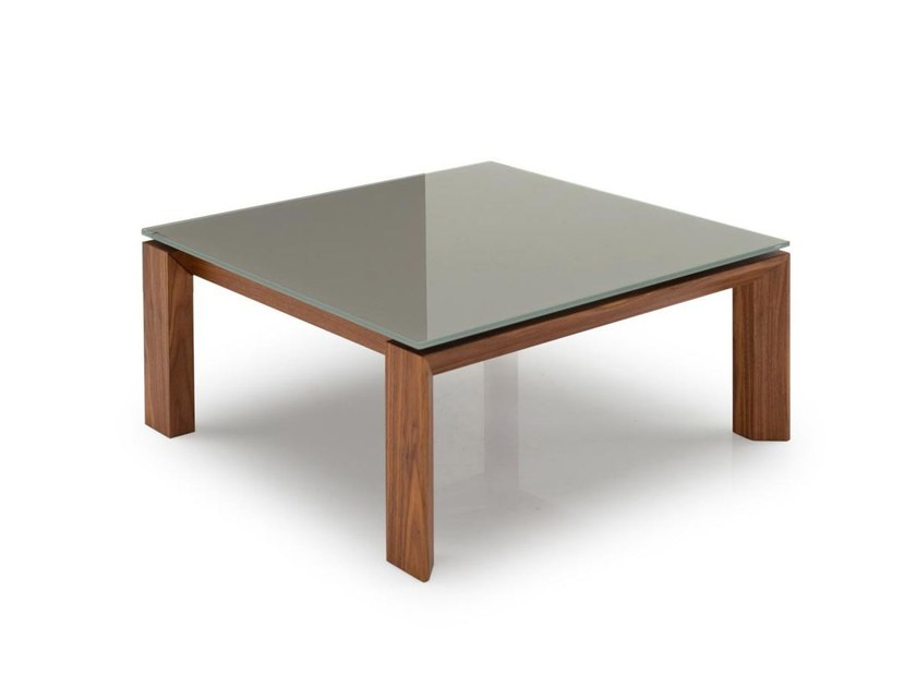 Square wood and glass coffee table OMNIA   Coffee table - Calligaris