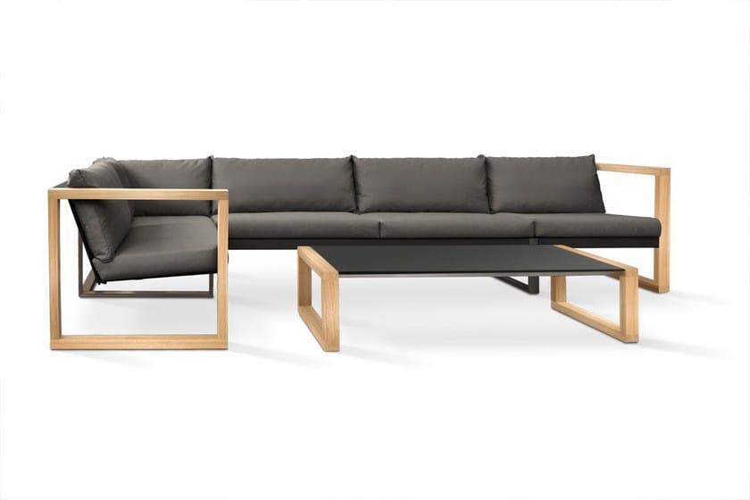 Modular Lounge set with teak armrests/frame & 'cozy' cushions grey