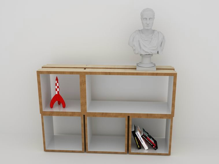 Sectional floating bookcase PILE OU FACE RECTANGULAIRE by MALHERBE EDITION
