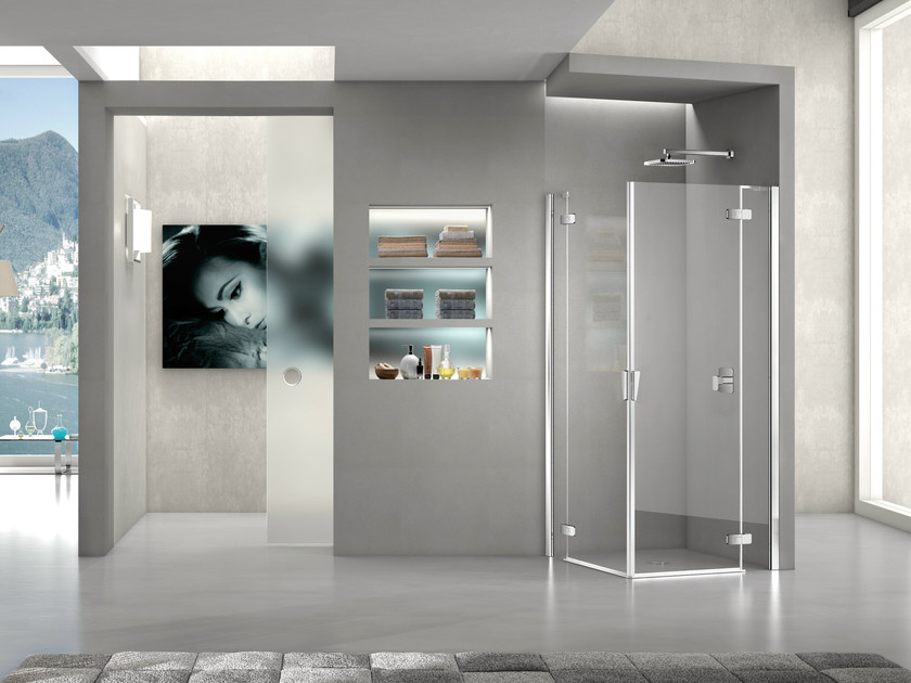 Corner crystal shower cabin with hinged door PURA 5000 NEW | Corner shower cabin - DUKA