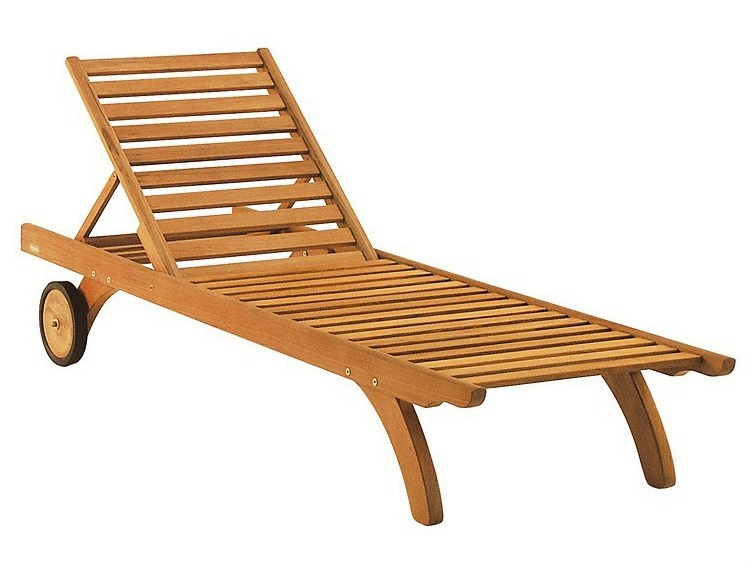 Recliner teak garden daybed with Casters CAMARAT by Tectona
