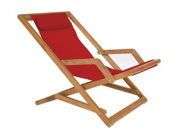 Folding recliner deck chair with armrests COPACABANA | Deck chair - Tectona