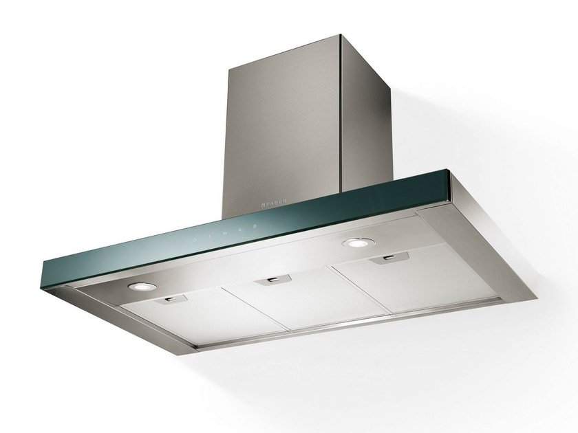Wall-mounted Mirror Glass and Stainless Steel cooker hood STILUX - FABER