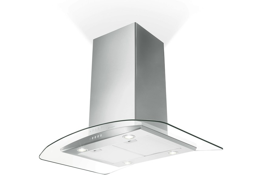 Glass and Stainless Steel island hood TRATTO | Island hood - FABER