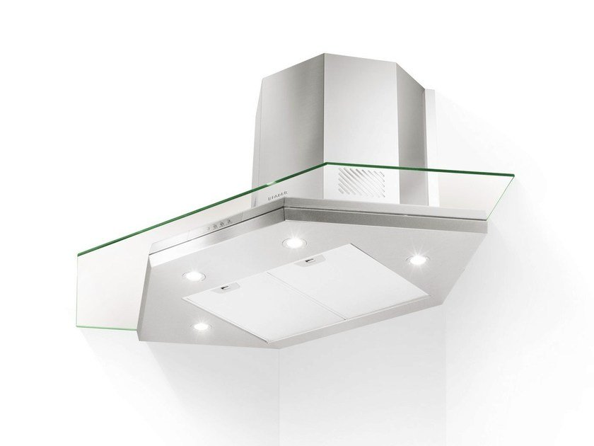 Corner Glass and Stainless Steel cooker hood PREMIO | Corner cooker hood - FABER