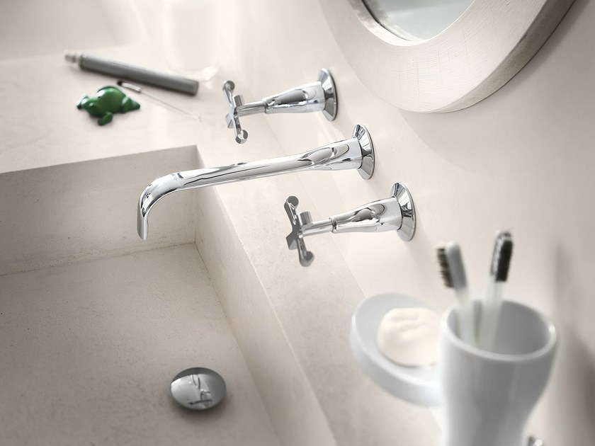 3 hole wall-mounted chrome-plated washbasin tap CARLOS PRIMERO | Wall-mounted washbasin tap - Carlo Nobili Rubinetterie