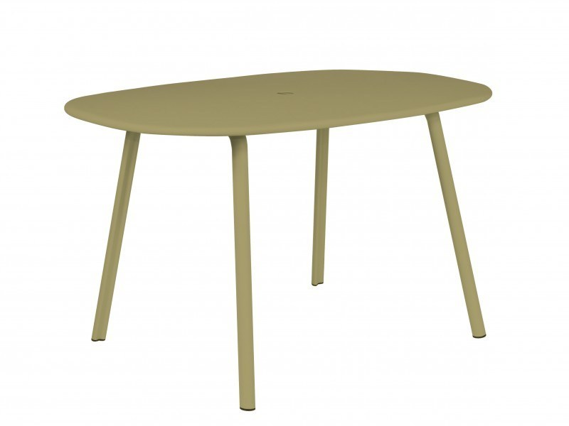 Oval aluminium garden table ALUMI | Table - Tectona