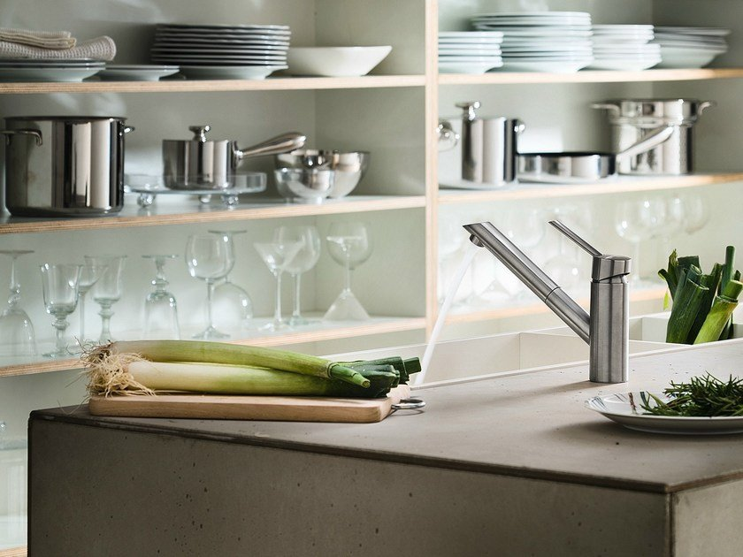Stainless steel kitchen mixer tap with pull out spray OZ | Kitchen mixer tap with pull out spray - Carlo Nobili Rubinetterie