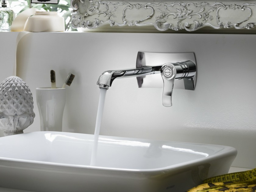 Wall-mounted chrome-plated single handle washbasin mixer SOFÌ | Wall-mounted washbasin mixer - Carlo Nobili Rubinetterie
