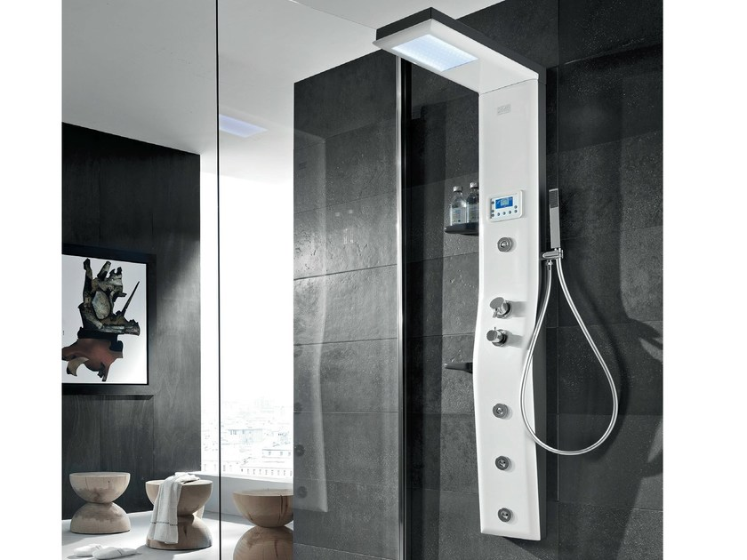 Multifunction steel shower panel for chromotherapy ETOILE 160 by Gruppo Geromin