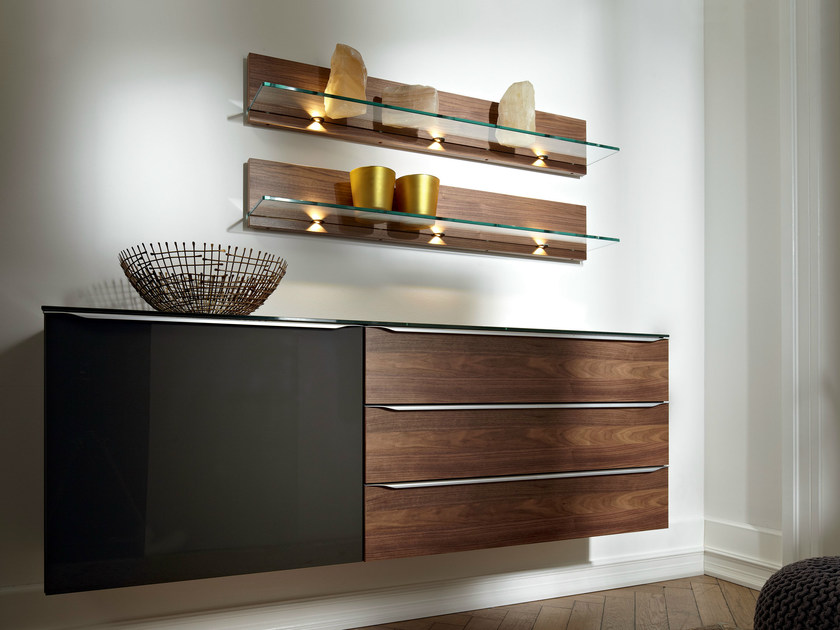 Lacquered wallstanding chest of drawers METIS PLUS | Walnut chest of drawers - Hülsta-Werke Hüls