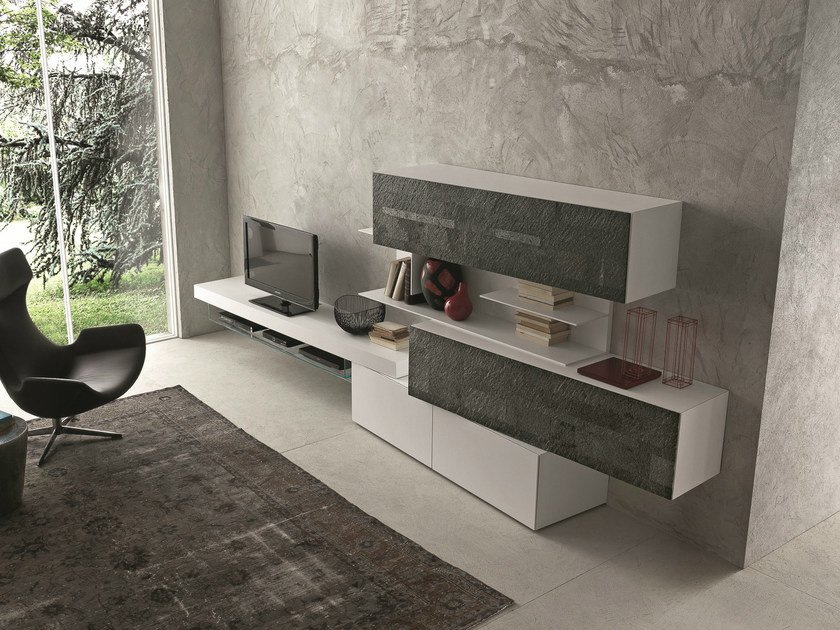 Sectional lacquered modular storage wall inclinart 261 for Mobili per la sala