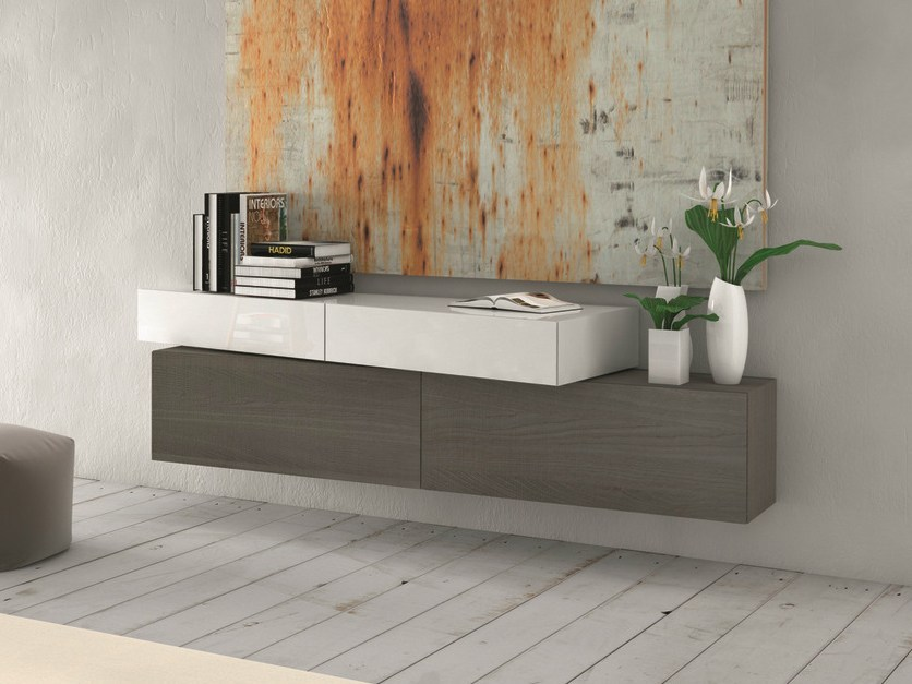 Lacquered suspended sideboard InclinART - 311 - Presotto Industrie Mobili