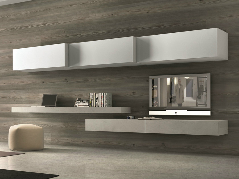 Sectional wall-mounted TV wall system InclinART - 262 - Presotto Industrie Mobili