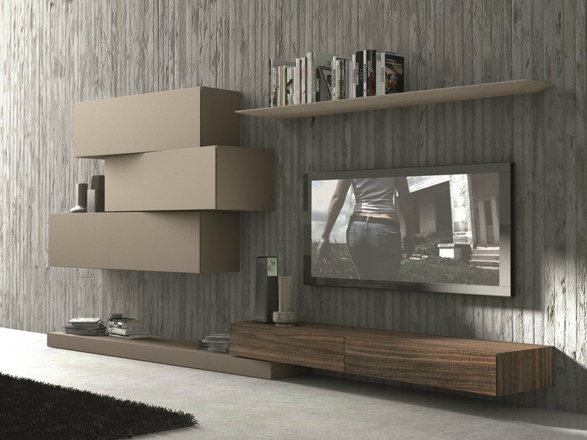 Sectional wall-mounted TV wall system InclinART - 263 by Presotto