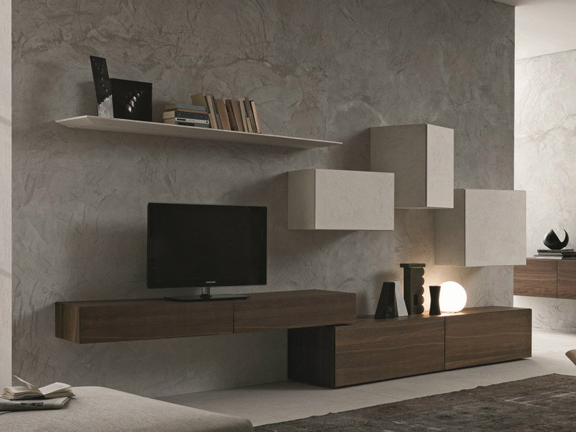 Sectional wall-mounted TV wall system InclinART - 269 - Presotto Industrie Mobili