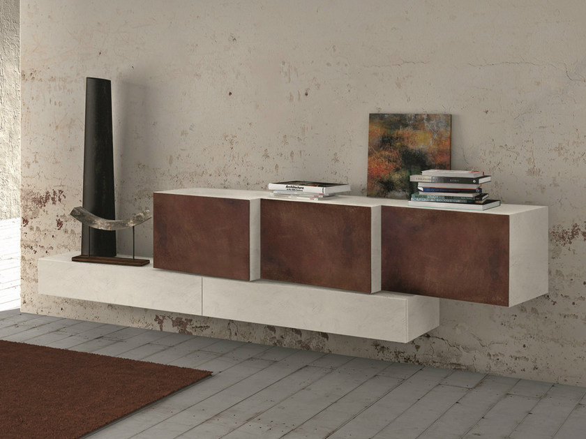 Lacquered suspended sideboard InclinART - 302 - Presotto Industrie Mobili