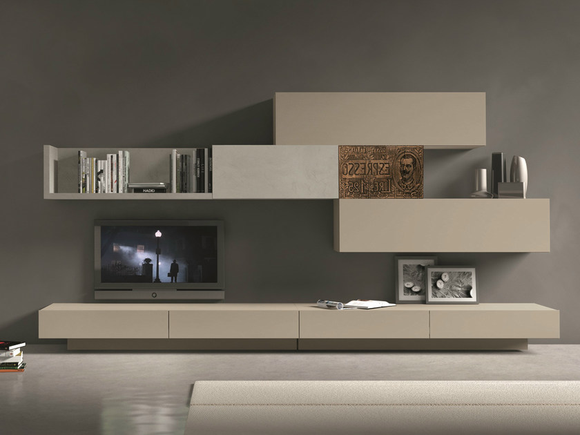 Sectional wall-mounted TV wall system InclinART - 280 by Presotto
