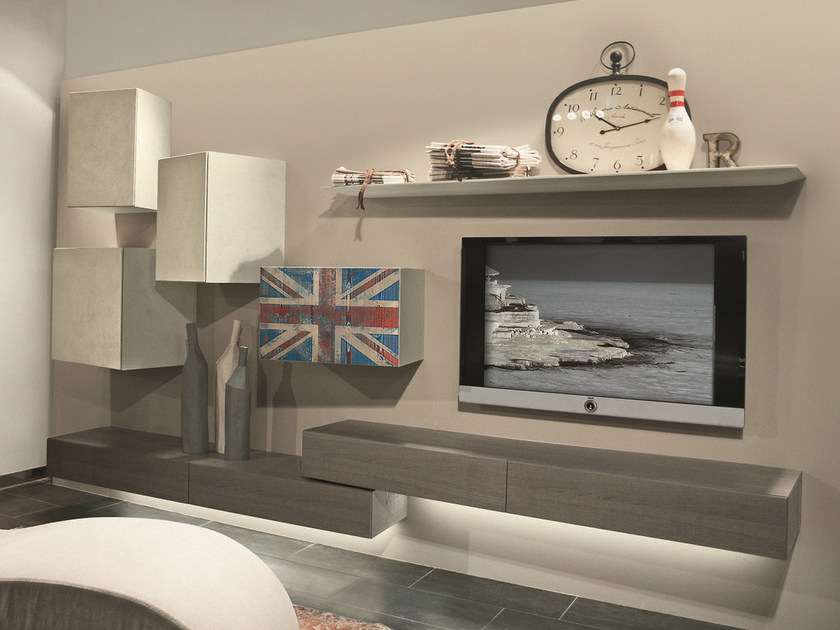 Sectional wall-mounted TV wall system InclinART - 313 by Presotto