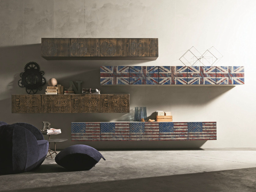 Sectional wall-mounted modular storage wall INCLINART VINTAGE | Storage wall - Presotto Industrie Mobili