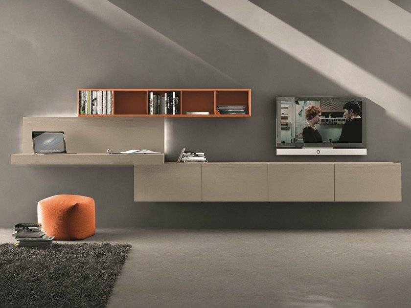 Sectional wall-mounted TV wall system I-modulArt - 297 by Presotto