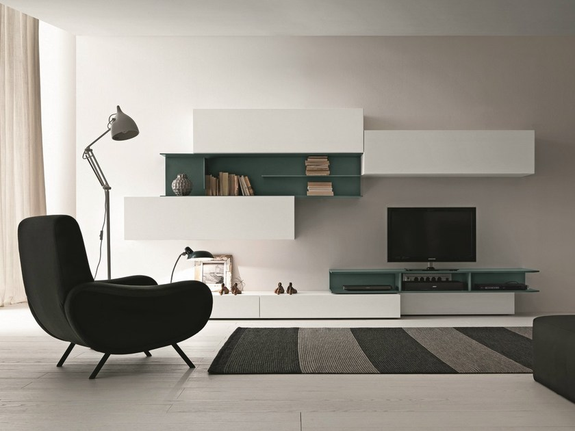 Sectional wall-mounted TV wall system I-modulArt - 270B - Presotto Industrie Mobili