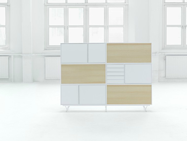 Lacquered office storage unit with hinged doors NO.5 | Office storage unit by Abstracta
