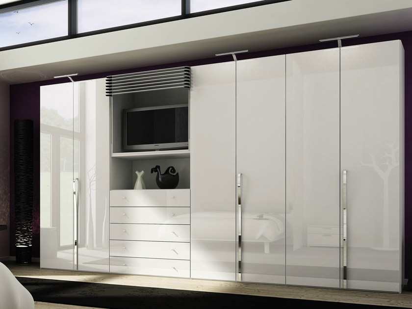 Lacquered wardrobe with drawers with built-in TV MULTI-FORMA II | Wardrobe with built-in TV - Hülsta-Werke Hüls