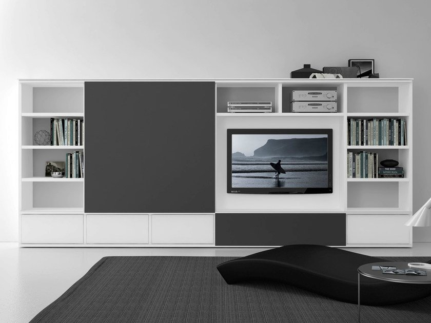 Sectional lacquered TV wall system Pari&Dispari - COMP 312 - Presotto Industrie Mobili
