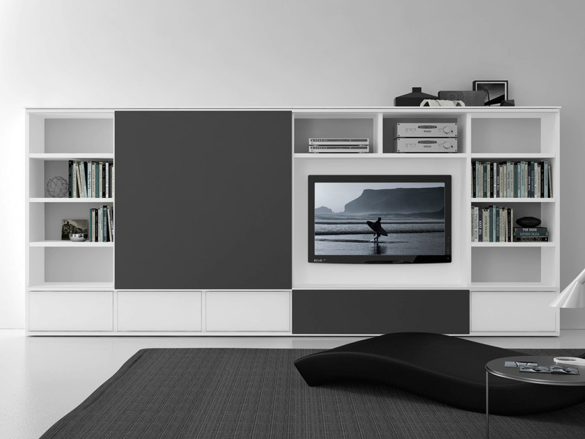 Sectional lacquered TV wall system Pari&Dispari - COMP 312 by Presotto