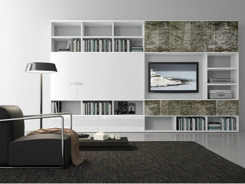Parete attrezzata componibile laccata con porta tv pari - Presotto parete attrezzata ...