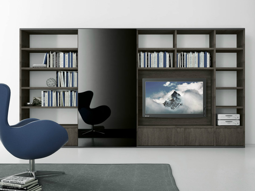 Sectional oak TV wall system Pari&Dispari - COMP 316 by Presotto