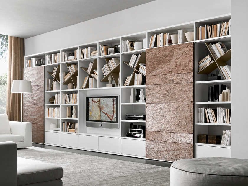 Sectional lacquered TV wall system Pari&Dispari - COMP 335 by Presotto