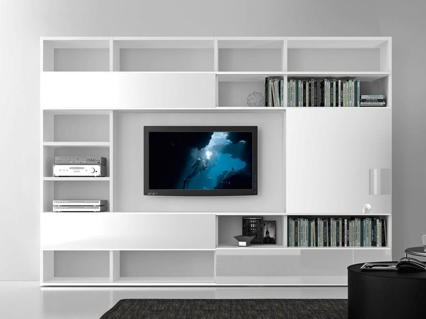 Sectional lacquered TV wall system Pari&Dispari - COMP 322 - Presotto Industrie Mobili