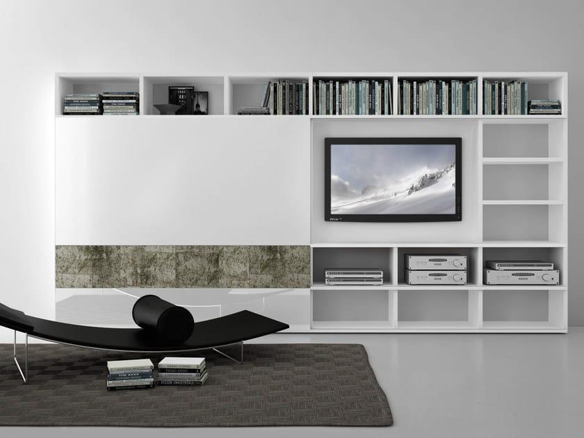 Sectional lacquered TV wall system Pari&Dispari - COMP 314 - Presotto Industrie Mobili