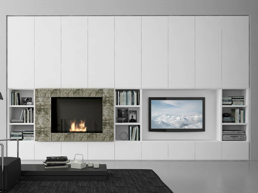 Sectional lacquered TV wall system Pari&Dispari - COMP 329 by Presotto