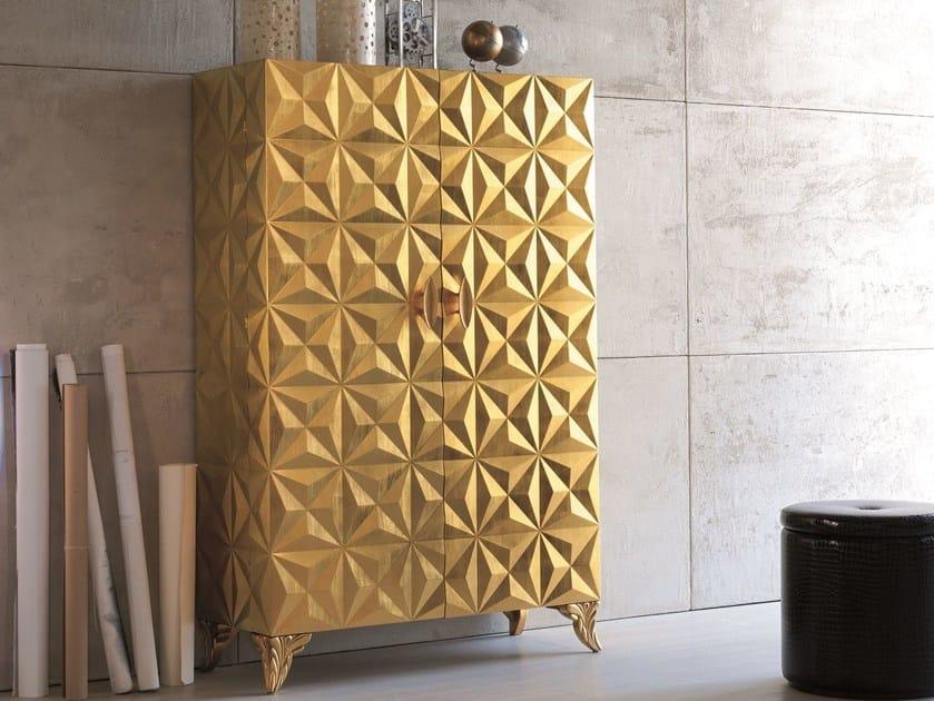 Storage bathroom cabinet with doors DIAMOND | Mobile giorno foglia oro - Bizzotto