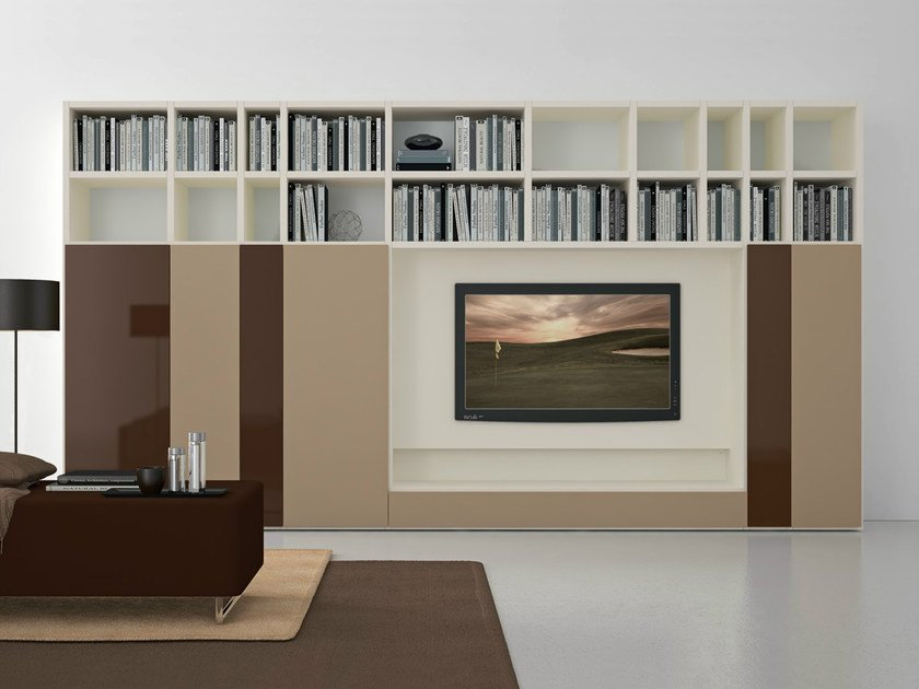 Sectional lacquered TV wall system Pari&Dispari - COMP 303 by Presotto