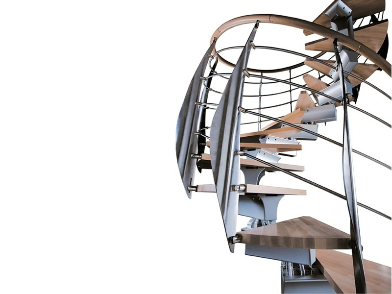 Aluminium and wood Spiral staircase SPIRAL PRIMA by RINTAL