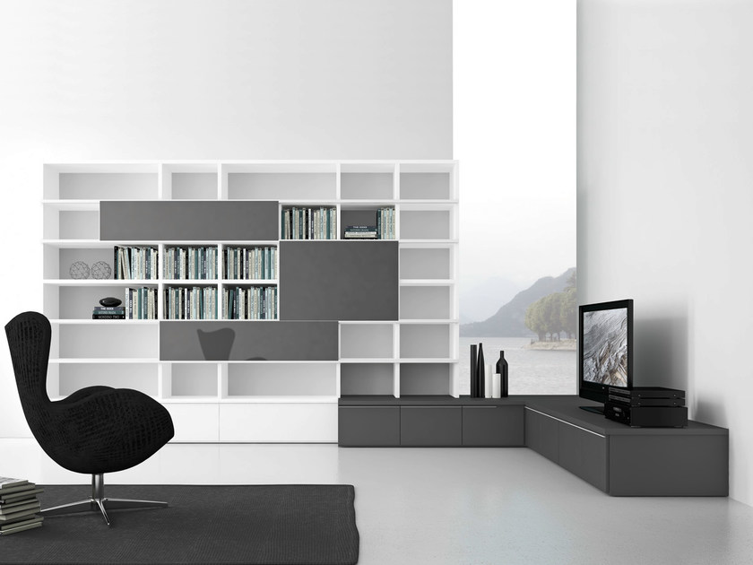Open wall-mounted sectional bookcase Pari&Dispari - COMP 319 - Presotto Industrie Mobili