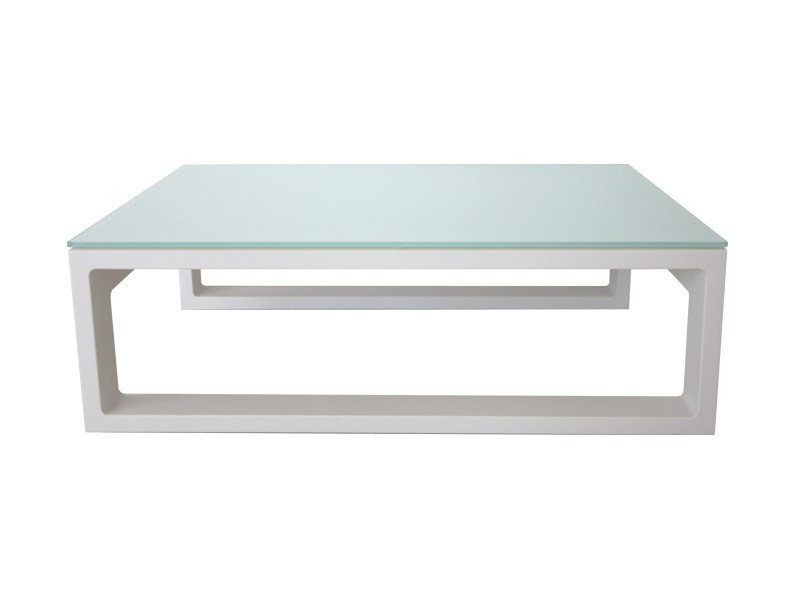 Rectangular glass and aluminium garden side table STOCKHOLM | Coffee table by Sérénité Luxury Monaco