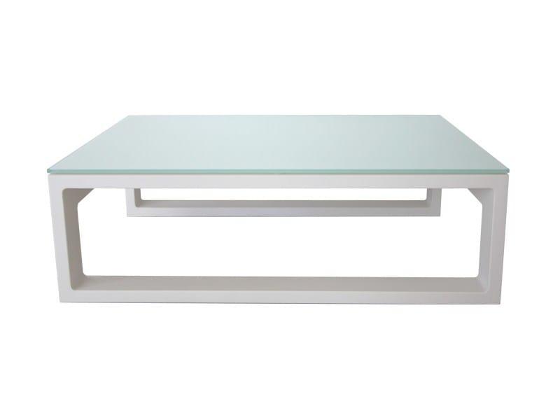 Rectangular glass and aluminium garden side table STOCKHOLM | Coffee table - Sérénité Luxury Monaco